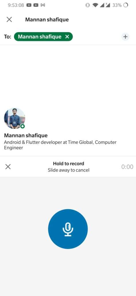How to send a voice note using the LinkedIn Mobile App